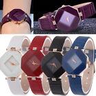 Women Diamond Leather Stainless Steel Analog Quartz Wrist Watch DMX