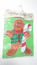 """Evergreen Applique Garden Flag Merry Christmas Gingerbread Man 12"""" x 18"""""""