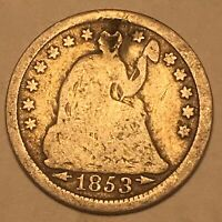 1853 O Seated Liberty Half Dime 5c Arrows Better Date Nice Details Damaged