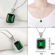 Newshe 5.30 Ct Green Emerald Sapphire 925 Sterling Silver Pendant Chain Necklace