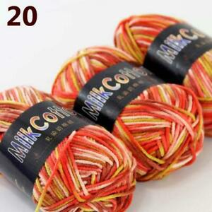 Sale Soft Cotton Baby Yarn New Hand dyed Wool Socks Scarf Knitting 3Ballsx50g 20