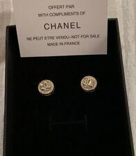Chanel Rhinestone Gold CC Earrings