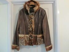 GEORGEOUS DESIGNER LECOMTE LEATHER AND ANIMAL PRINT FUR JACKET GB 14