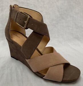 BNIB Clarks Ladies Ysabelle Jules Taupe Combi Suede Wedged Sandals