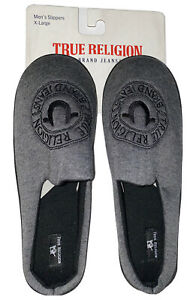 True Religion Brand Jeans Gray Mens Slippers XL Size 13 Brand New