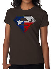 Texas Flag in Superman Logo Womens T-shirt, Lone Star Longhorns Dallas Cowboys