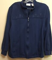 Alfred Dunner Petite Women's Size PXL Blue Zippered Jacket w/Floral Embroidery