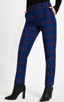 New River Island Blue Tartan Tapered Trouser RRP £45 Now £19.50