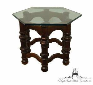 "ETHAN ALLEN Royal Charter Oak 31"" Hexagonal Glass Topped Accent End Table"