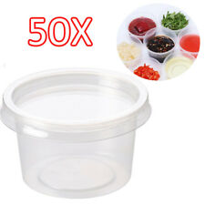 50x 4oz Clear Plastic Containers Tubs with Separate Lids Food Safe Takeaway