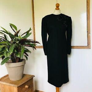 Vtg 80s Black Cotton Blend Velvet Flowers Beaded Puff Long Sleeve Dress 16 18