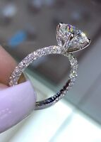 2Ct Round Cut Sparkle Moissanite Solitaire Engagement Ring 14K White Gold Finish