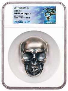 2017 Palau Big Skull High Relief 1/2 Kilo Silver Antiqued $25 NGC MS69