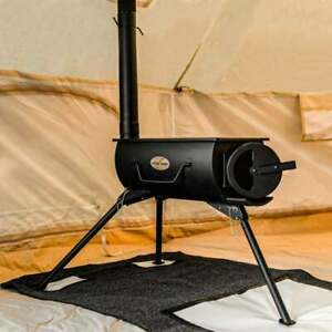 PORTABLE CAMPING ROUND WOOD BURNING STOVE AND HEATER