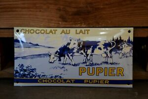 PLAQUE EMAILLEE CHOCOLAT PUPIER enamel sign emaischild