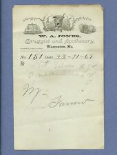 1869 WA Jones Druggist Apothecary Warrenton Missouri Prescription Receipt No 151