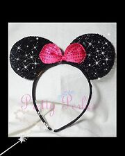 1pc Minnie-Mickey Mouse Ears Headband  Sparkle Shimmer Pink Bow Costume Party