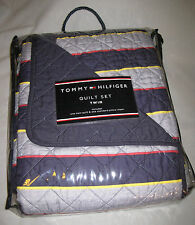 TWIN - Tommy Hilfiger - Bromley Navy, Gray Striped SHAM & QUILT SET