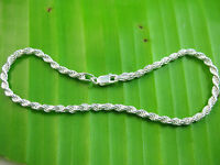 MADE IN ITALY - 925 sterling silver SOLID 3mm wide ROPE BRACELET 7' 8' 9' UNISEX