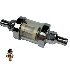 Motorrad Benzinfilter Chrom mit Schauglas 6,5 mm Anschluss