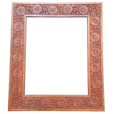 "20x16"" Stunning Carved Solid Wood Brown Photo Picture Frame w/perspex+back"