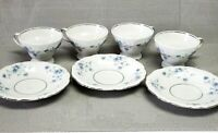 Johann Haviland Bavaria Blue Garland 4 Footed Tea Cups & 3 Saucers Set