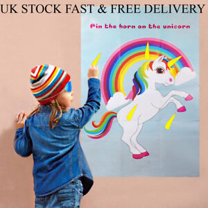 Unicorn Party Game Pin The Horn On The Unicorn Wall Sticker Kids Birthday UK