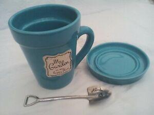 Mug, saucer & teaspoon coffee set, Flowerpot gardening, blue, Shudehill Giftware
