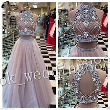 beading Two pieces Prom Dress High Neck Long Pageant Evening Party Gowns Custom