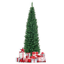 6Ft PVC Artificial Slim Pencil Christmas Tree w/Stand Home Holiday Decor Green
