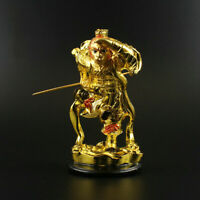 12CM Chinese Resin Gild Handsome Monkey King Sun Wukong Buddha Statue Ornament