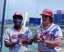 Joe Morgan Pete Rose DUAL SIGNED 8x10 Photo Cincinnati Reds PSA/DNA AUTOGRAPHED