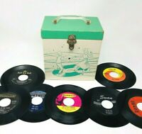 Lot Of 42 1960's 45 Singles Records Including Original 60's Record Case Beatles