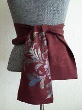 """Handmade Vintage Silk Kimono Floral Pattern KUMI Obi Belt/ Scarf/51""""L x 5.5""""W"""