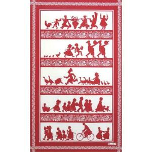 BEAUVILLE French Country Dish Kitchen Towel Silhouettes Animals Cook Food Red