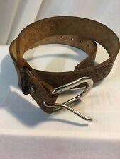 Vintage Brown Tooled Leather Western Belt Size 36