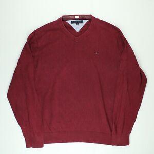 TOMMY HILFIGER Mens V-Neck Jumper Pullover Sweater Cotton Burgundy Size XL