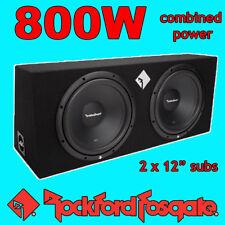TWIN 12 INCH SUB BOX PACKAGE ROCKFORD FOSGATE PRIME BASS UPGRADE 800W PEAK POWER