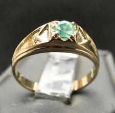 .45 CT UNTREATED EMERALD SOLID 14K YELLOW GOLD MENS RING SZ 10.75 NEON GREEN