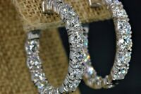 10Ct Round Cut Diamond Inside Out Hoop Earrings 14K White Solid Gold Finish