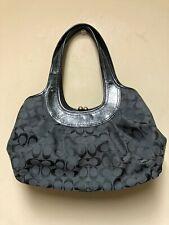 Coach D1076-F14380 Black Signature Pleated Ergo Satchel Shoulder Bag Handbag