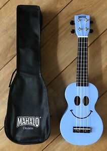 Mahalo Rainbow Light Blue Smiley Face Ukulele With Aquila Strings