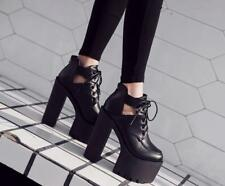 Womens Fashion Gothic Punk Lace Up Chunky High Heels Platform Party Sexy Shoes