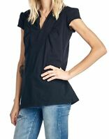 NWT UNION BAY WOMEN'S COLLARED TOP V-NECK SOLID S/S CAP SLEEVE BLACK 'XL' MSRP25