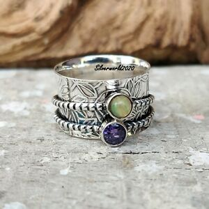Opal Ring Spinner Ring 925 Sterling Silver Plated Handmade Ring Size 11.5 gt253