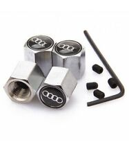 AUDI CHROME STEEL Anti Theft Tyre Wheel Dust Valve Caps S Line A1 A3 A4 A5 A6 A7