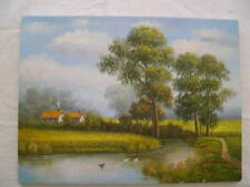 HANDSOME LANDSCAPE OIL PAINTING HOUSE, STREAM, TREES, DUCKS SIGNED
