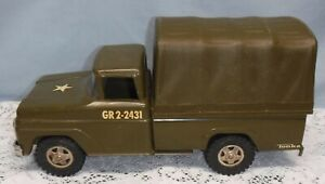 Vintage 1960's Tonka Army Truck GR 2-2431 Military Steel Toy Truck With Canopy
