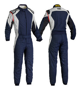 OMP First Evo FIA 2 Layer Race Suit Navy/Silver Race / Rally