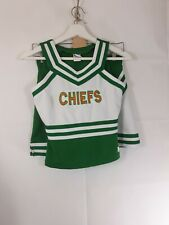 Chasse Chiefs Junior's Girls Size Adult 6/S Cheerleader 2 Piece Set Green & Whit